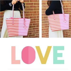 NWT Kate Spade Zina Large Tote Stripe Zip Bag